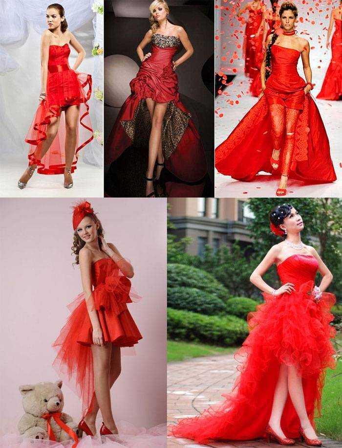 Платье красное со шлейфом