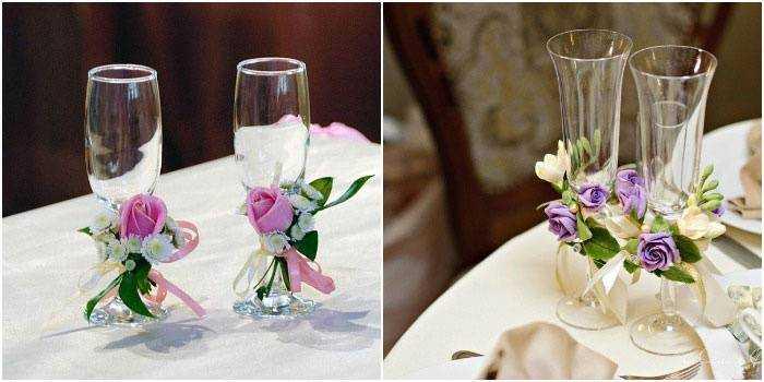 Как украсить свадебные фужеры своими руками в домашних условиях
