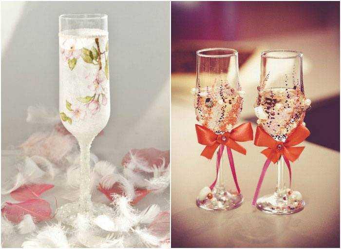 Как украсить стаканы на свадьбу своими руками фото 29