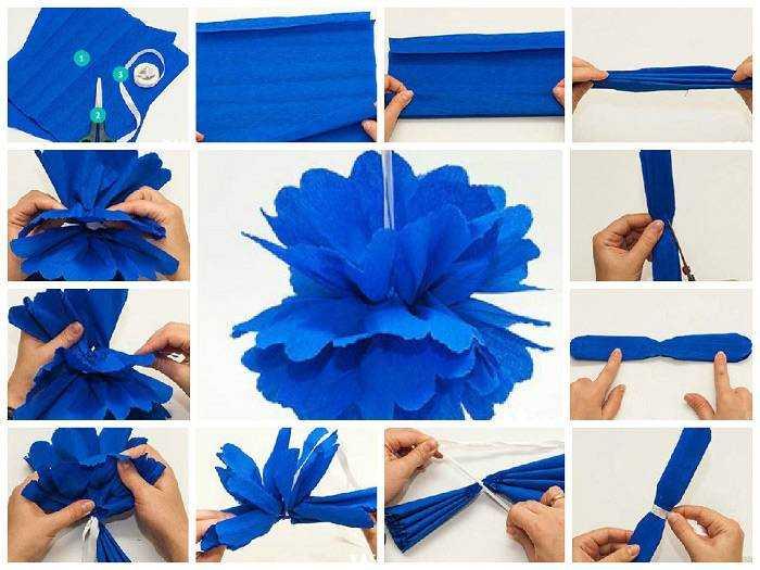 Как сделать из креповой бумаги помпон 89