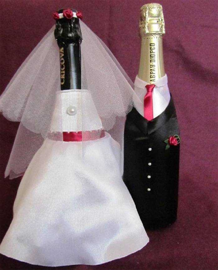 Бутылка шампанского жених и невеста на свадьбу своими руками 35