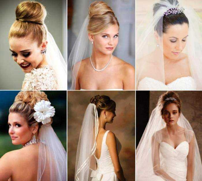 Прически с фатой для свадьбы на средние волосы фото с