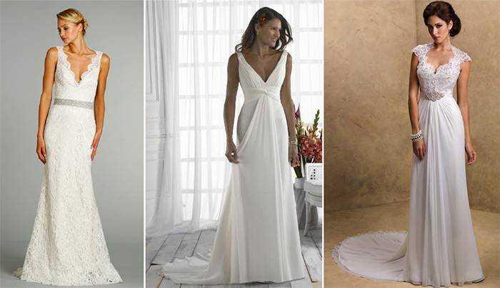 Простое свадебное платье с низким декольте. Обробка простих фасони весільних  суконь ... b8db747579613